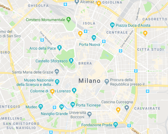 Map 4 asian restaurants in Milan