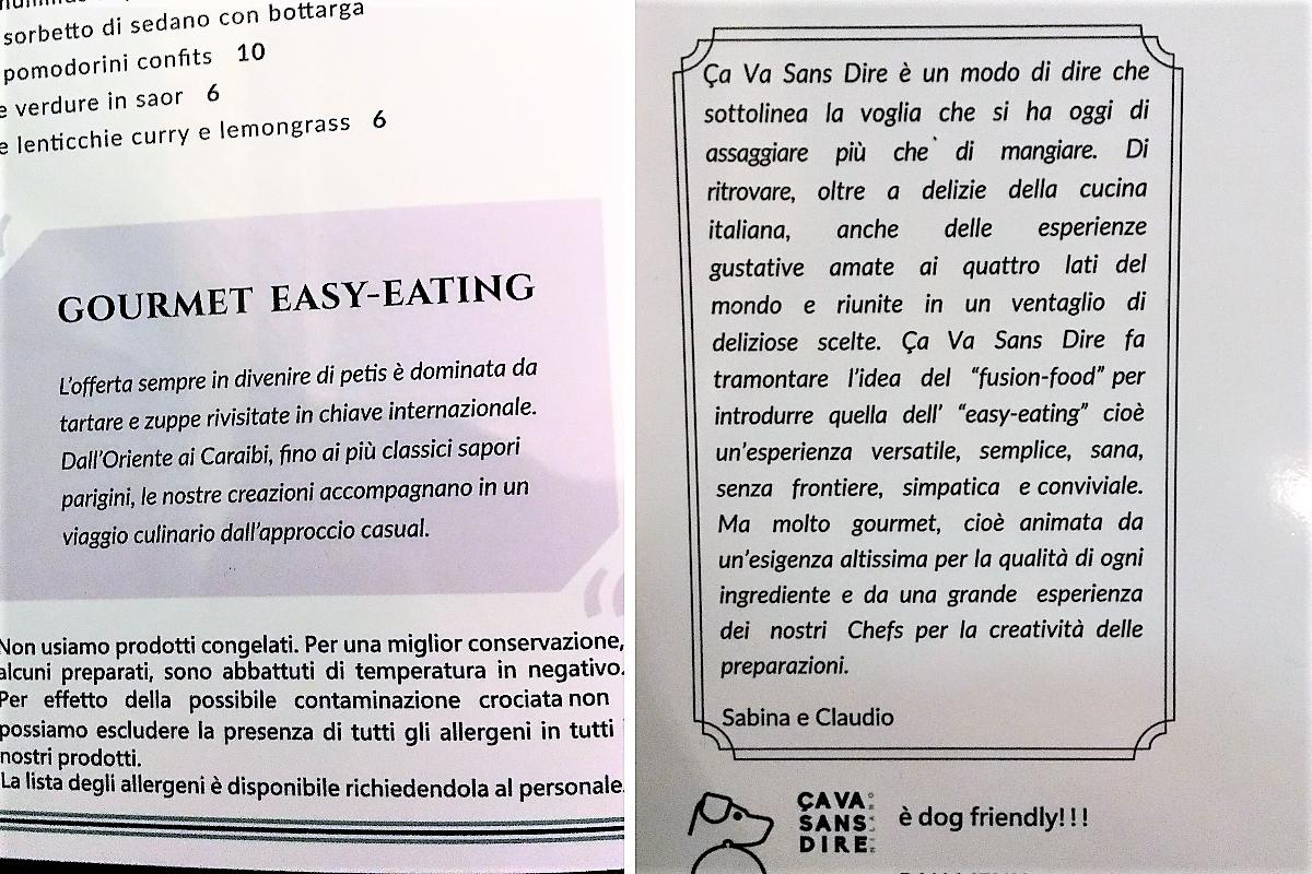 Ca va sans dire ristorante Milano Porta Romana - filosofia