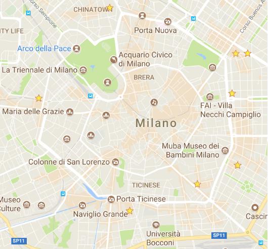 Dove bere a Milano - mappa