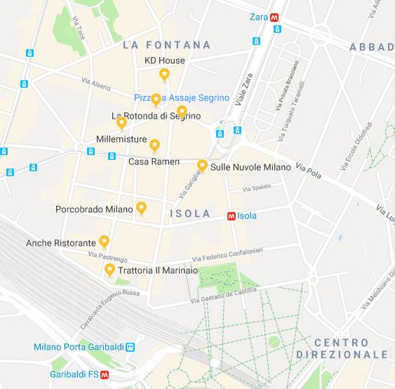Mangiare a Isola Milano - mappa