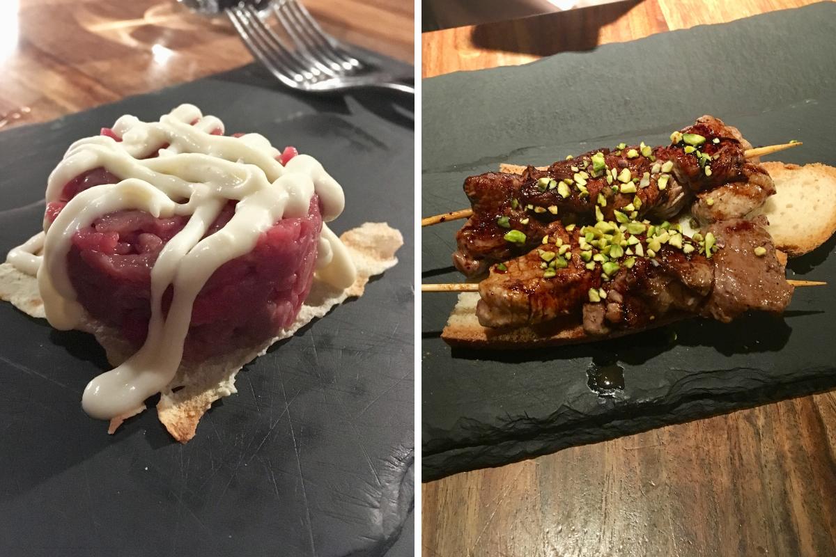 Filetteria Italiana Milano mangiare carne - tartare e spiedini di vitello all anatra