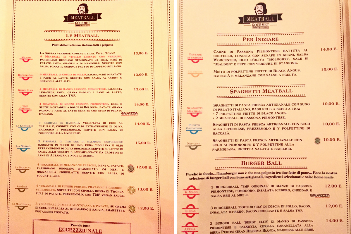 Meatball Family Milano - menu