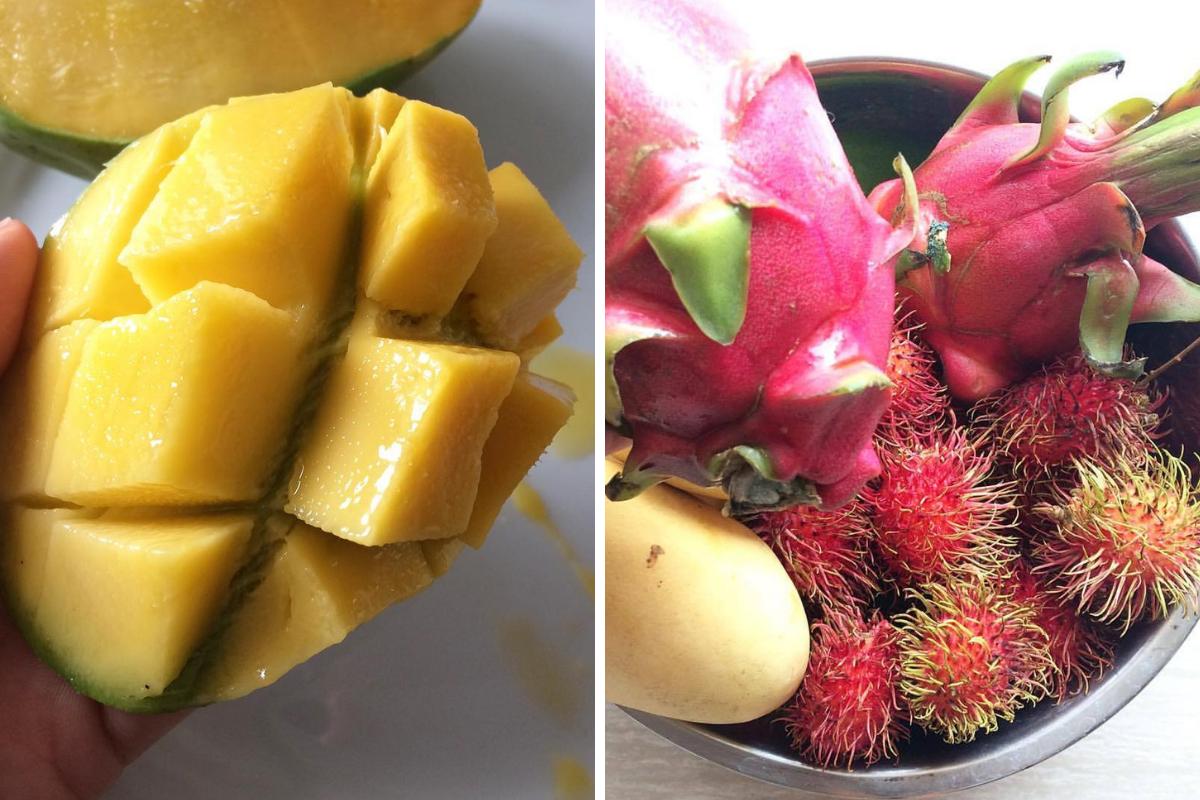 Visitare le Filippine - Dragonfruit, rambutan e mango frutta